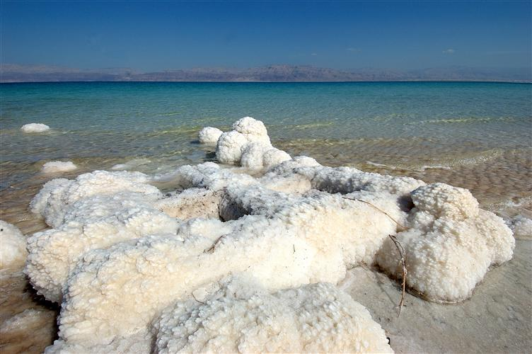 Heavy Salt Deposits on the Dead Sea Shore