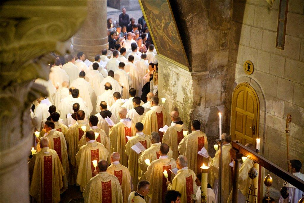 Holding Mass inside the Church of the Holy Sepulchre