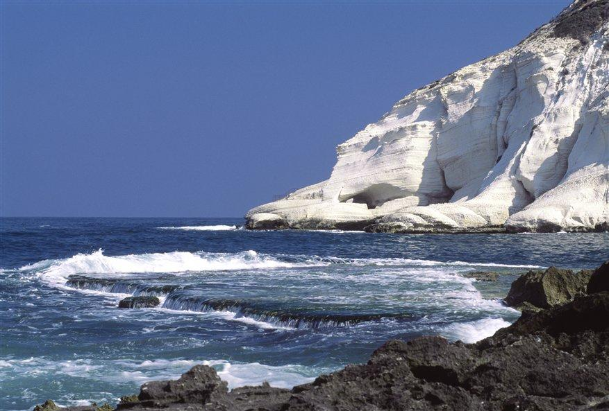 Rosh Hanikra: The Cliff and the Grottoes from the Shore